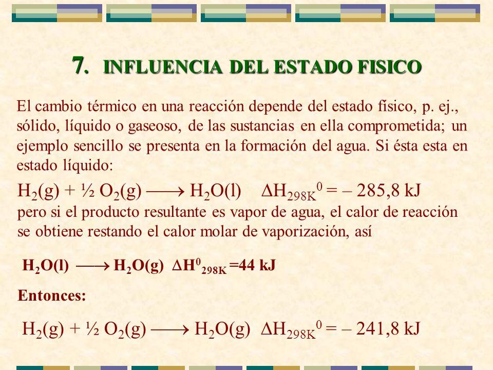 7. INFLUENCIA DEL ESTADO FISICO El cambio térmico en una reacción depende del estado físico, p. ej., sólido, líquido o gaseoso, de las sustancias en e
