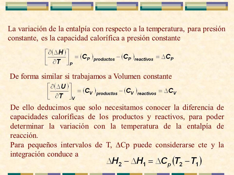 La variación de la entalpía con respecto a la temperatura, para presión constante, es la capacidad calorífica a presión constante De forma similar si