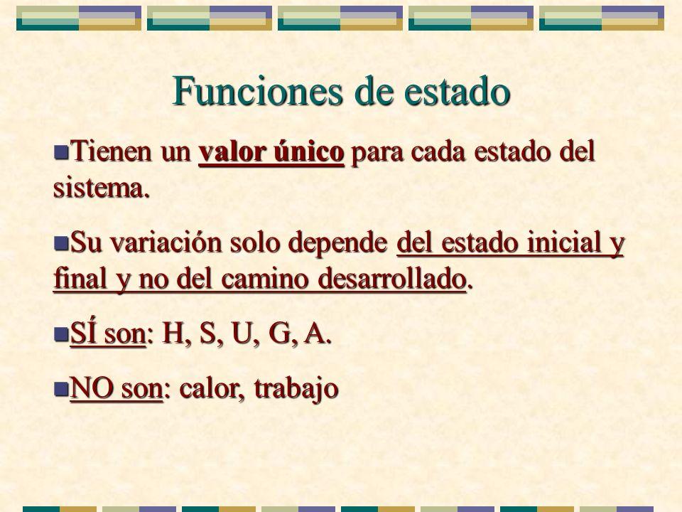 Funciones de estado n Tienen un valor único para cada estado del sistema. n Su variación solo depende del estado inicial y final y no del camino desar