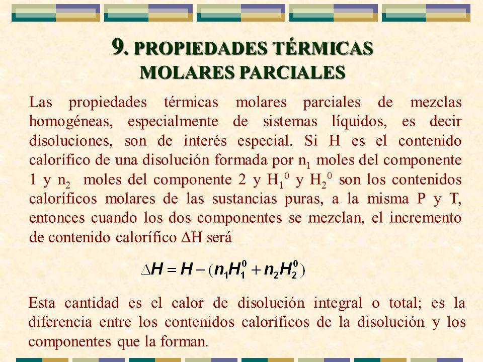9. PROPIEDADES TÉRMICAS MOLARES PARCIALES Las propiedades térmicas molares parciales de mezclas homogéneas, especialmente de sistemas líquidos, es dec