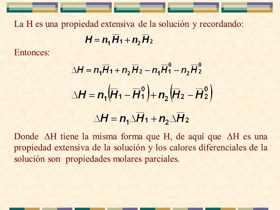 La H es una propiedad extensiva de la solución y recordando: Entonces: Donde H tiene la misma forma que H, de aquí que H es una propiedad extensiva de