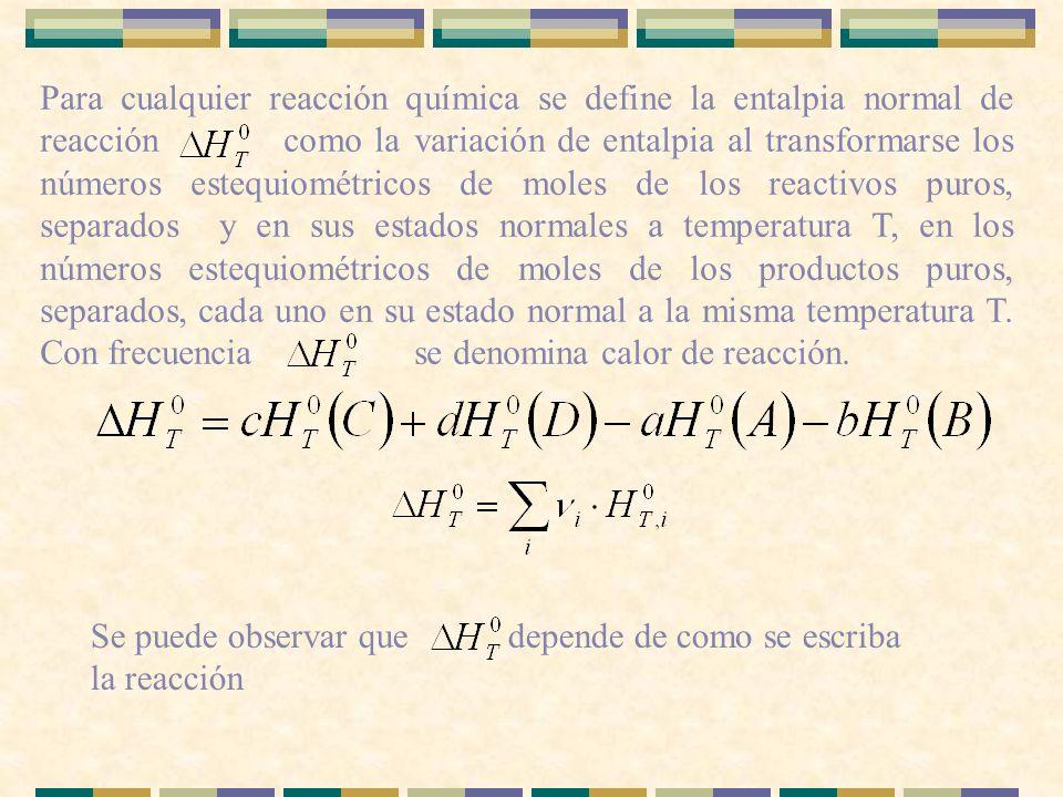 Para cualquier reacción química se define la entalpia normal de reacción como la variación de entalpia al transformarse los números estequiométricos d