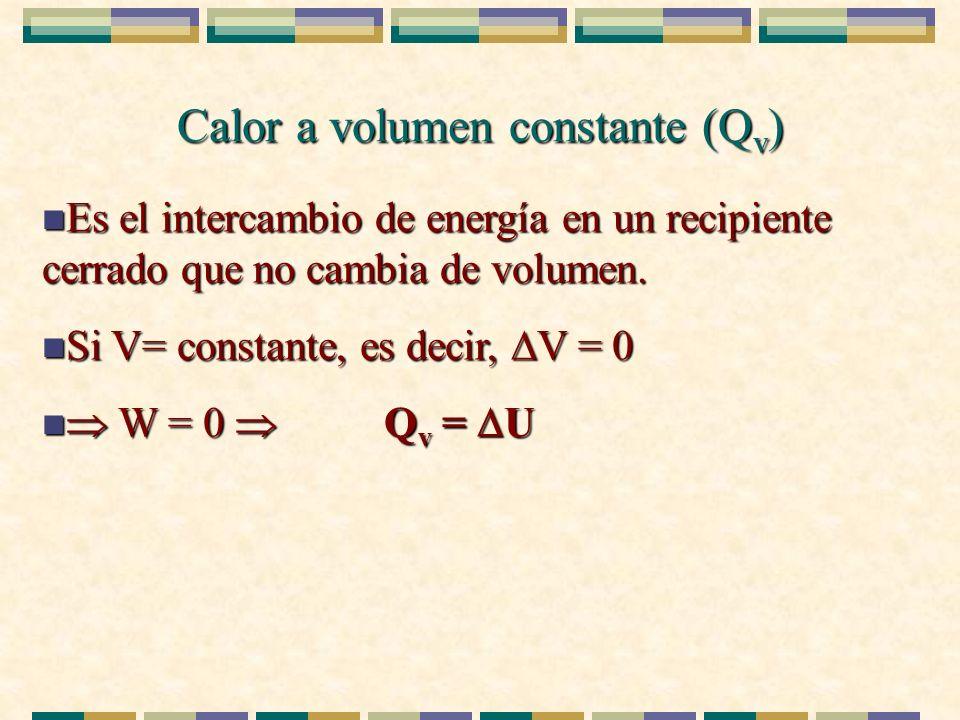 Calor a volumen constante (Q v ) n Es el intercambio de energía en un recipiente cerrado que no cambia de volumen. n Si V= constante, es decir, V = 0
