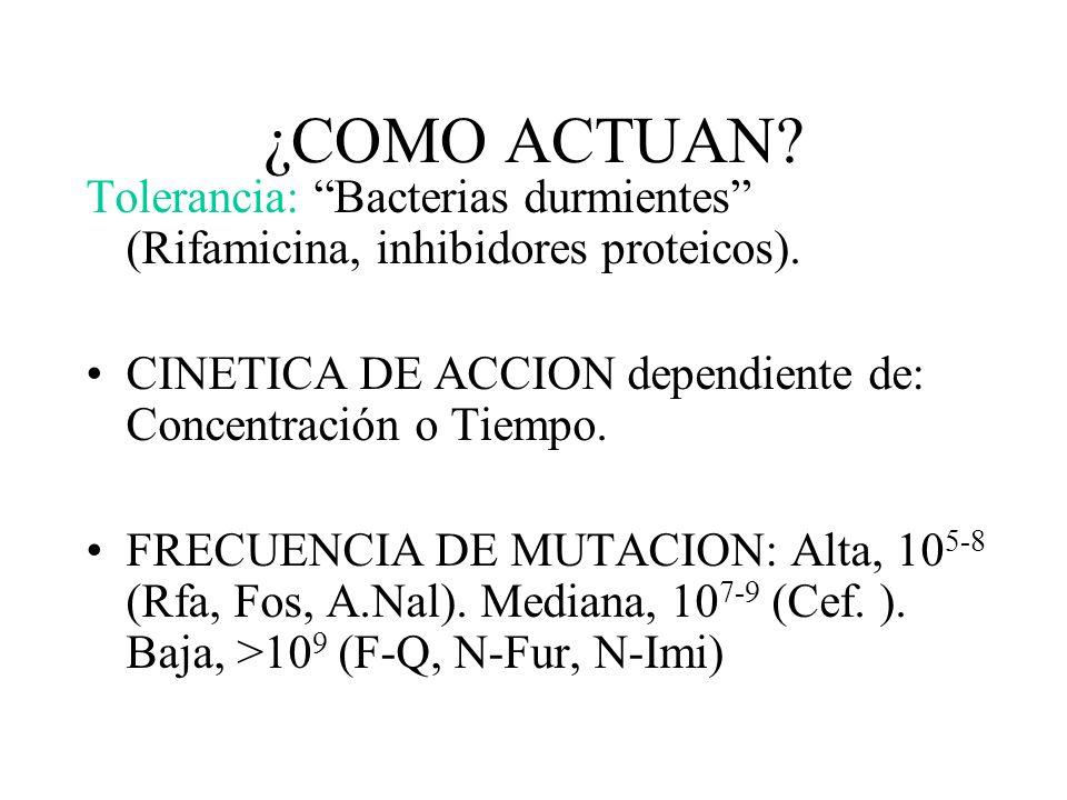 ¿COMO ACTUAN? Tolerancia: Bacterias durmientes (Rifamicina, inhibidores proteicos). CINETICA DE ACCION dependiente de: Concentración o Tiempo. FRECUEN
