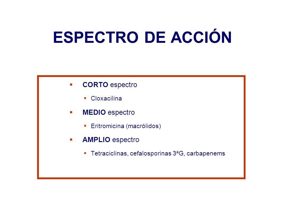 ESPECTRO DE ACCIÓN CORTO espectro Cloxacilina MEDIO espectro Eritromicina (macrólidos) AMPLIO espectro Tetraciclinas, cefalosporinas 3ªG, carbapenems