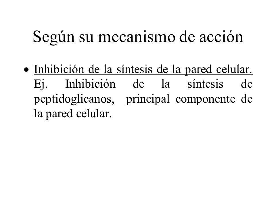 Según su mecanismo de acción Inhibición de la síntesis de la pared celular. Ej. Inhibición de la síntesis de peptidoglicanos, principal componente de
