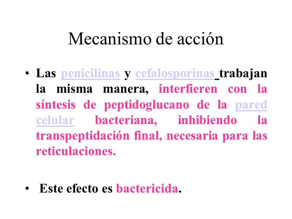 Mecanismo de acción Las penicilinas y cefalosporinas trabajan la misma manera, interfieren con la síntesis de peptidoglucano de la pared celular bacte
