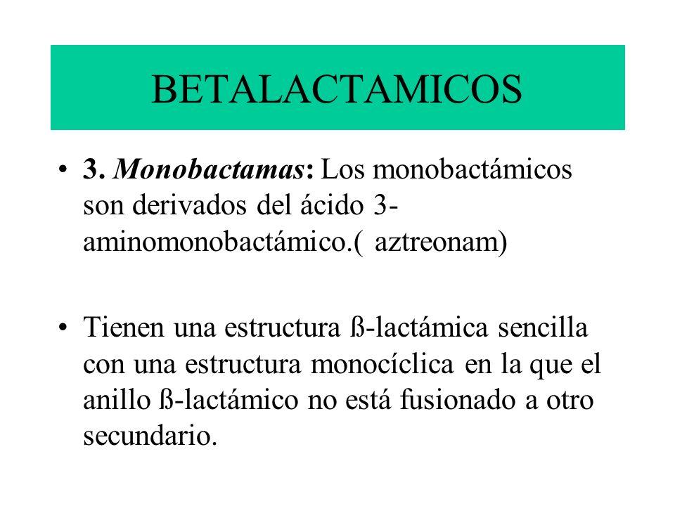 BETALACTAMICOS 3. Monobactamas: Los monobactámicos son derivados del ácido 3- aminomonobactámico.( aztreonam) Tienen una estructura ß-lactámica sencil