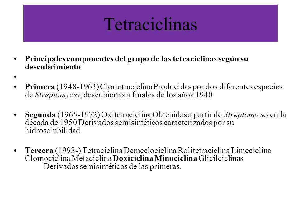 Tetraciclinas Principales componentes del grupo de las tetraciclinas según su descubrimiento Primera (1948-1963) Clortetraciclina Producidas por dos d