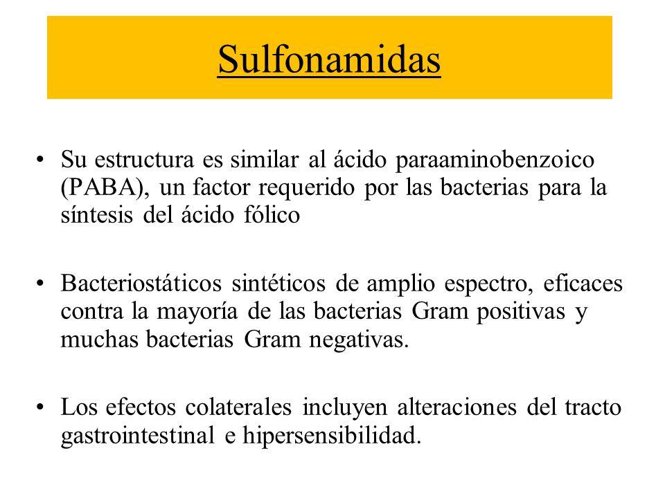 Sulfonamidas Su estructura es similar al ácido paraaminobenzoico (PABA), un factor requerido por las bacterias para la síntesis del ácido fólico Bacte