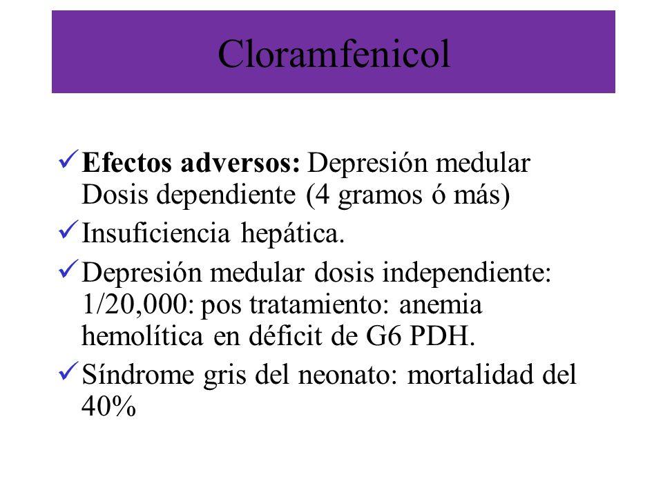 Cloramfenicol Efectos adversos: Depresión medular Dosis dependiente (4 gramos ó más) Insuficiencia hepática. Depresión medular dosis independiente: 1/