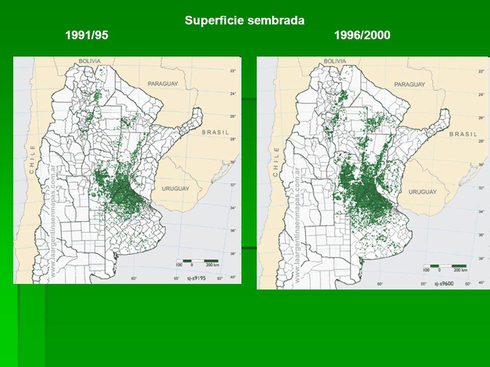 Superficie sembrada 1991/95 1996/2000