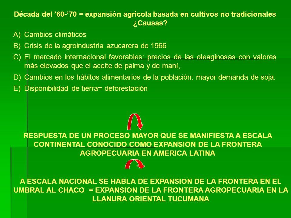 Década del 60-70 = expansión agrícola basada en cultivos no tradicionales ¿Causas? A)Cambios climáticos B)Crisis de la agroindustria azucarera de 1966