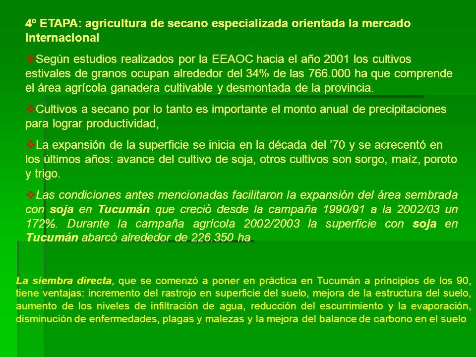 4º ETAPA: agricultura de secano especializada orientada la mercado internacional Según estudios realizados por la EEAOC hacia el año 2001 los cultivos