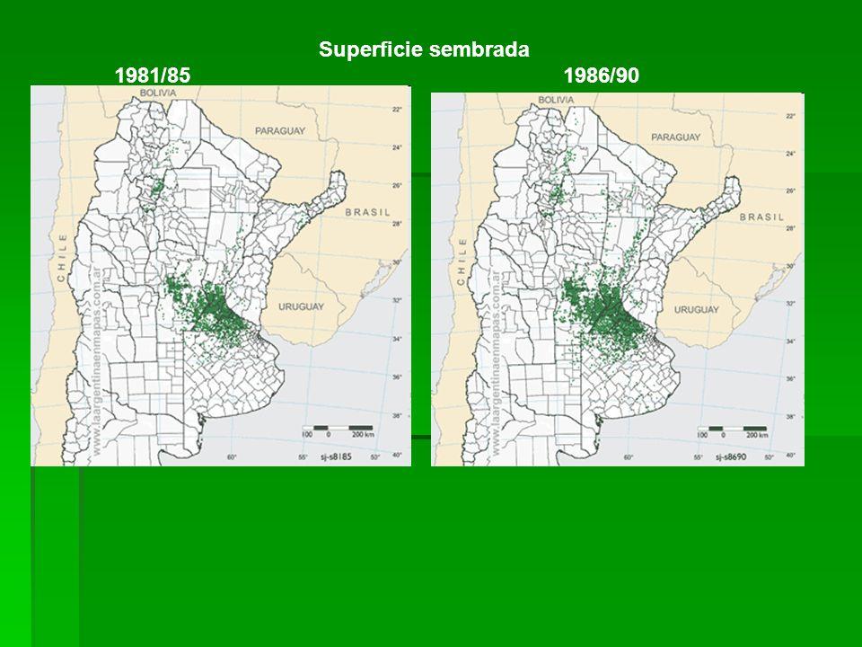 Superficie sembrada 1981/85 1986/90