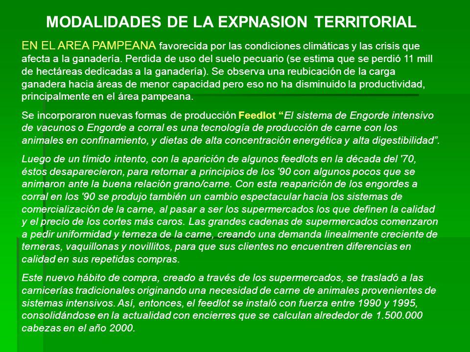 MODALIDADES DE LA EXPNASION TERRITORIAL EN EL AREA PAMPEANA favorecida por las condiciones climáticas y las crisis que afecta a la ganadería. Perdida