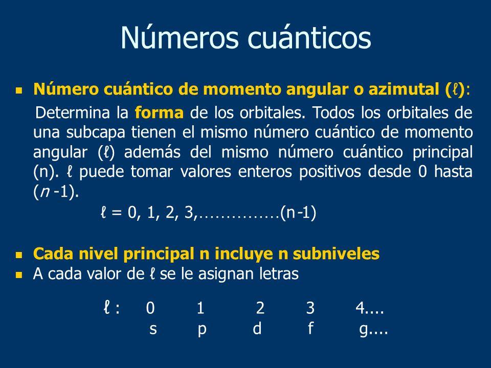Número cuántico de momento angular o azimutal (): Determina la forma de los orbitales. Todos los orbitales de una subcapa tienen el mismo número cuánt