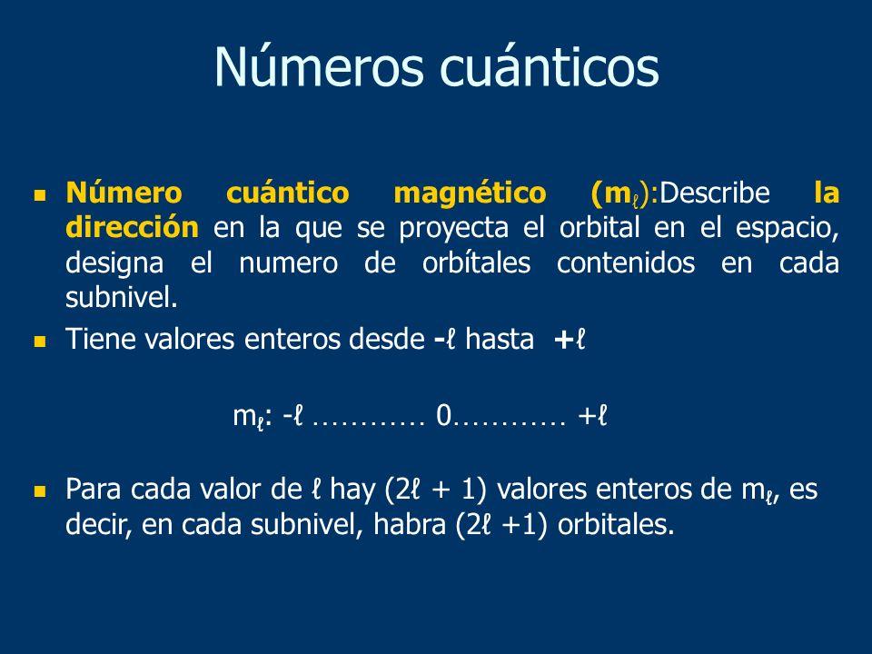 Número cuántico magnético (m ):Describe la dirección en la que se proyecta el orbital en el espacio, designa el numero de orbítales contenidos en cada