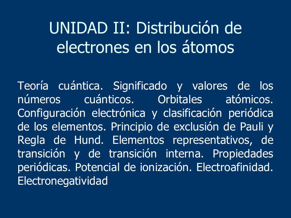 UNIDAD II: Distribución de electrones en los átomos Teoría cuántica. Significado y valores de los números cuánticos. Orbitales atómicos. Configuración