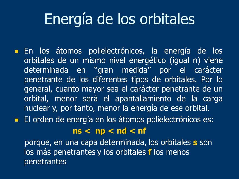 Energía de los orbitales En los átomos polielectrónicos, la energía de los orbitales de un mismo nivel energético (igual n) viene determinada en gran