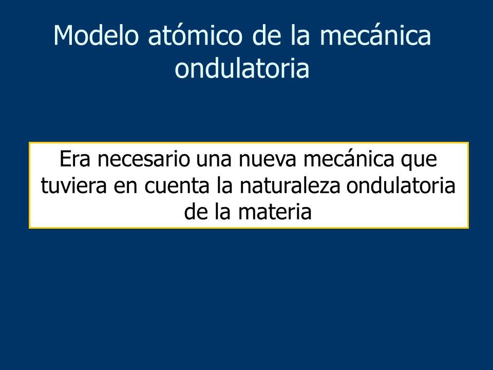 Era necesario una nueva mecánica que tuviera en cuenta la naturaleza ondulatoria de la materia Modelo atómico de la mecánica ondulatoria