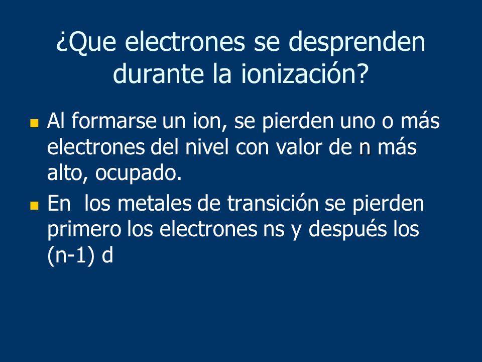 ¿Que electrones se desprenden durante la ionización? n Al formarse un ion, se pierden uno o más electrones del nivel con valor de n más alto, ocupado.
