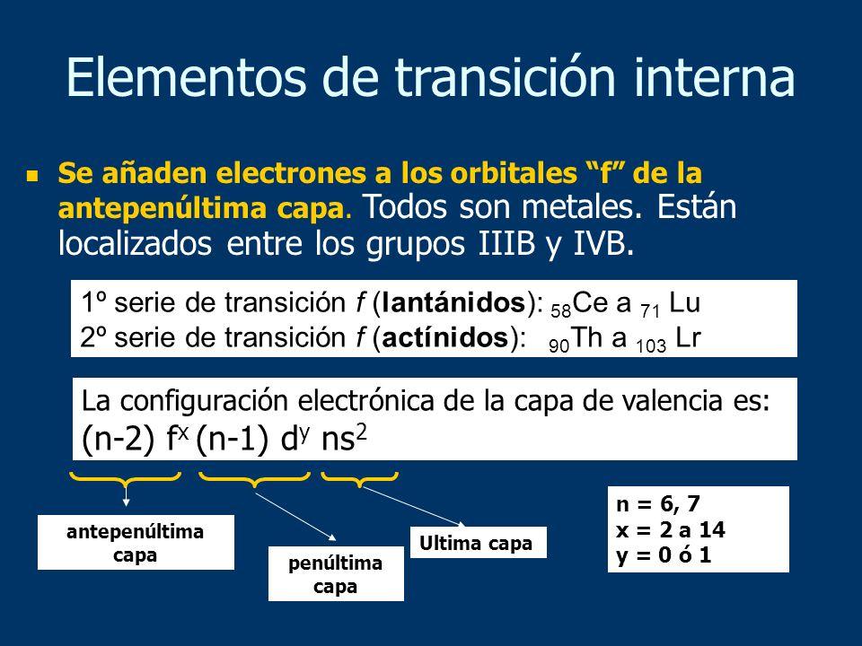 Elementos de transición interna Se añaden electrones a los orbitales f de la antepenúltima capa. Todos son metales. Están localizados entre los grupos