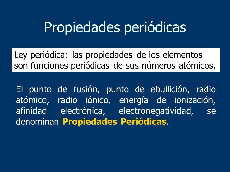 Propiedades periódicas El punto de fusión, punto de ebullición, radio atómico, radio iónico, energía de ionización, afinidad electrónica, electronegat