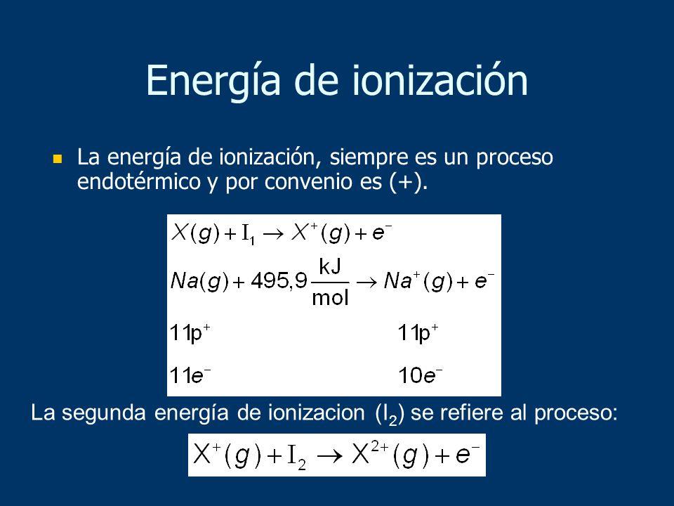 La segunda energía de ionizacion (I 2 ) se refiere al proceso: La energía de ionización, siempre es un proceso endotérmico y por convenio es (+). Ener