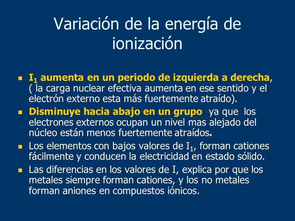 I 1 aumenta en un periodo de izquierda a derecha, ( la carga nuclear efectiva aumenta en ese sentido y el electrón externo esta más fuertemente atraíd