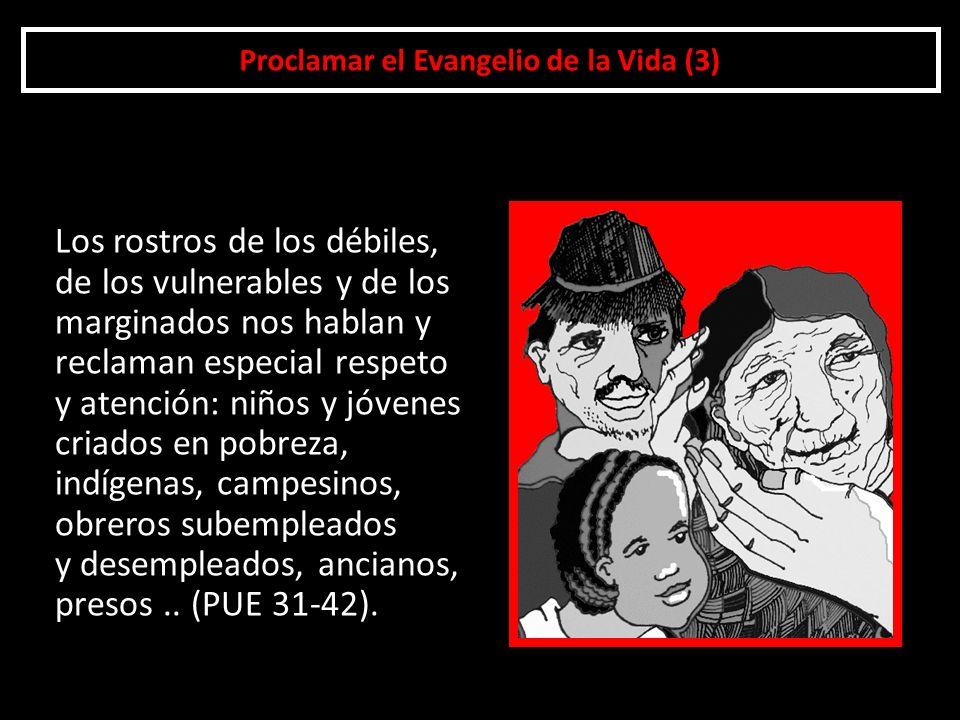 Proclamar el Evangelio de la Vida (3) Los rostros de los débiles, de los vulnerables y de los marginados nos hablan y reclaman especial respeto y aten