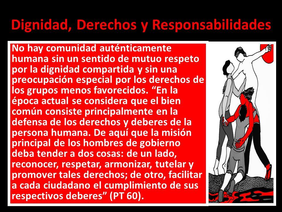 Dignidad, Derechos y Responsabilidades No hay comunidad auténticamente humana sin un sentido de mutuo respeto por la dignidad compartida y sin una pre