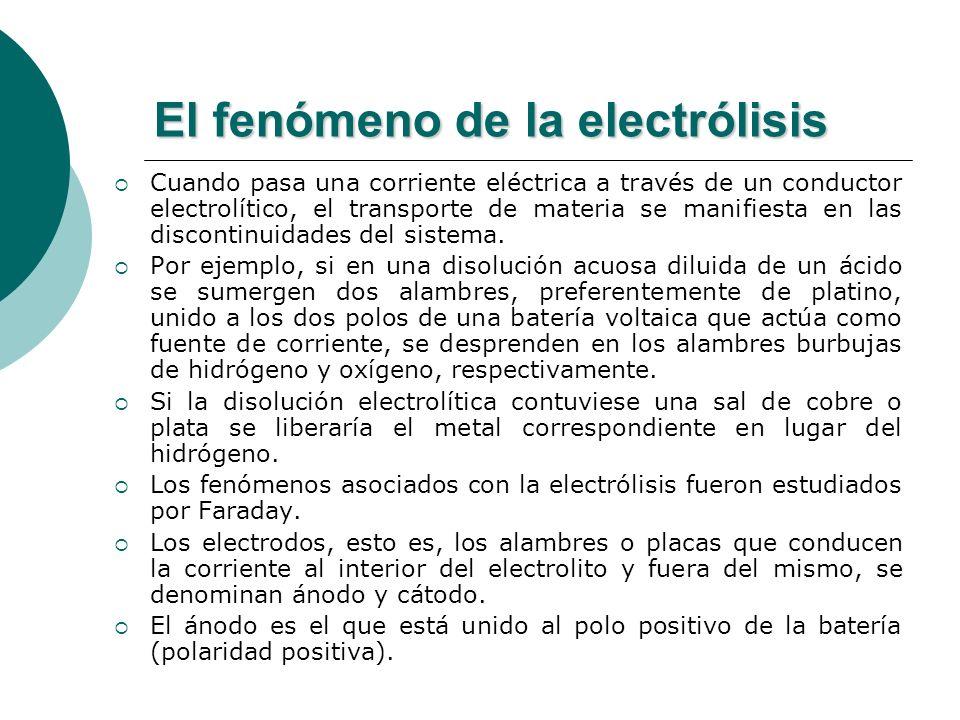 El fenómeno de la electrólisis Cuando pasa una corriente eléctrica a través de un conductor electrolítico, el transporte de materia se manifiesta en l