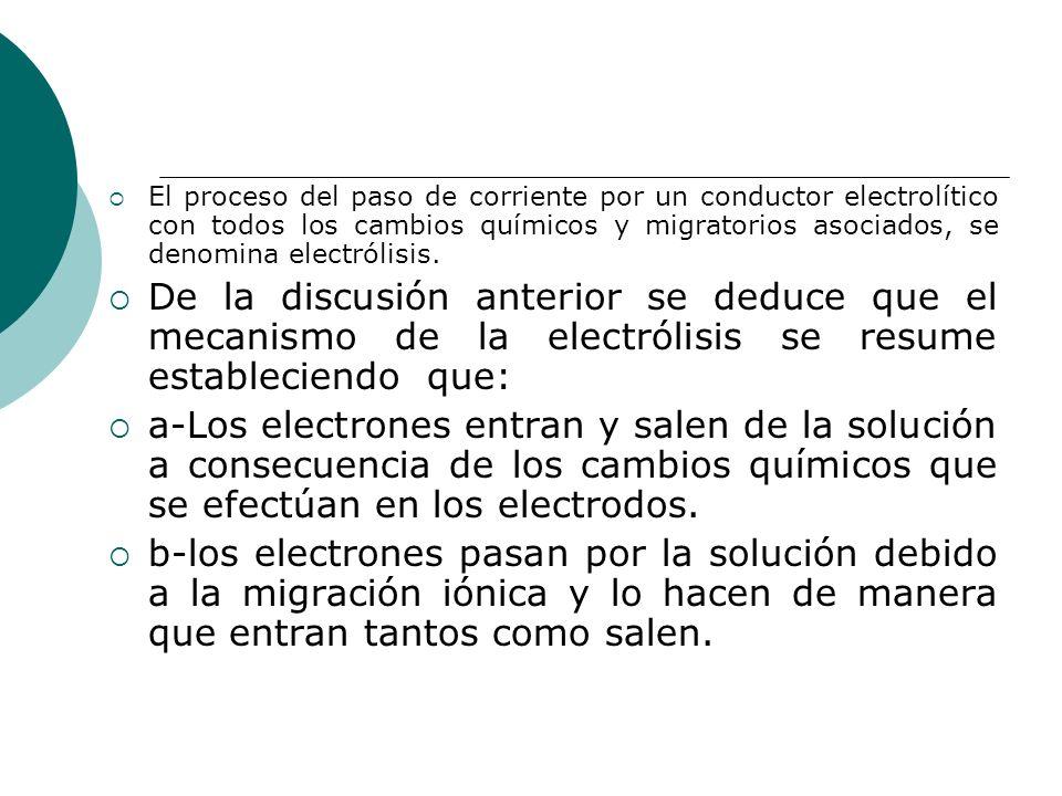 El proceso del paso de corriente por un conductor electrolítico con todos los cambios químicos y migratorios asociados, se denomina electrólisis. De l