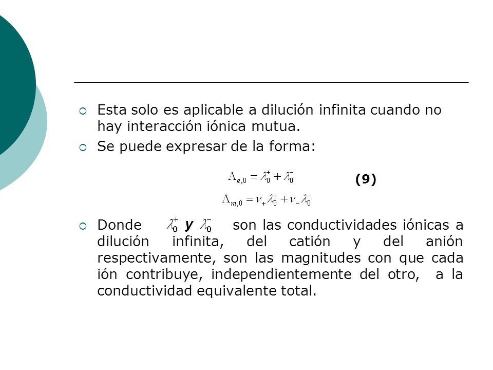 Esta solo es aplicable a dilución infinita cuando no hay interacción iónica mutua. Se puede expresar de la forma: Donde son las conductividades iónica