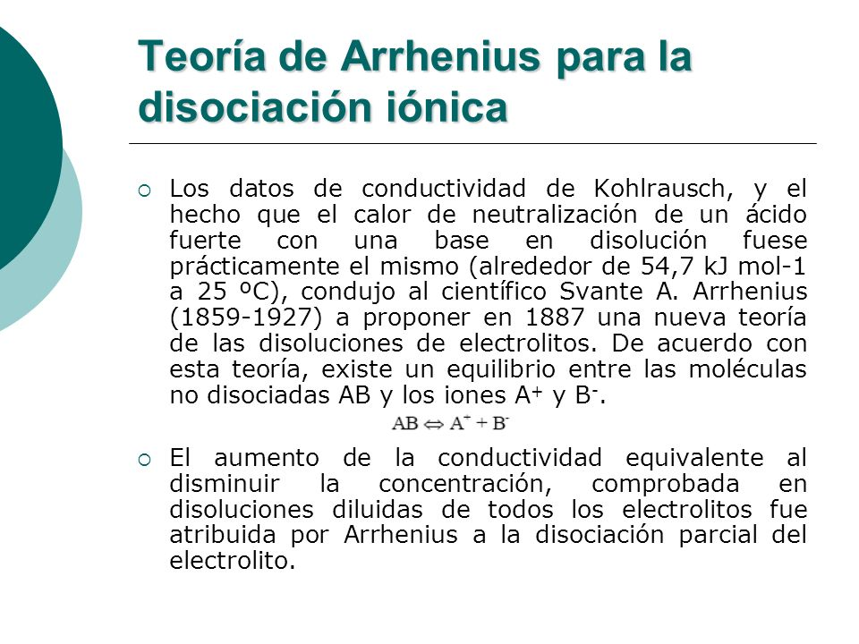 Teoría de Arrhenius para la disociación iónica Los datos de conductividad de Kohlrausch, y el hecho que el calor de neutralización de un ácido fuerte