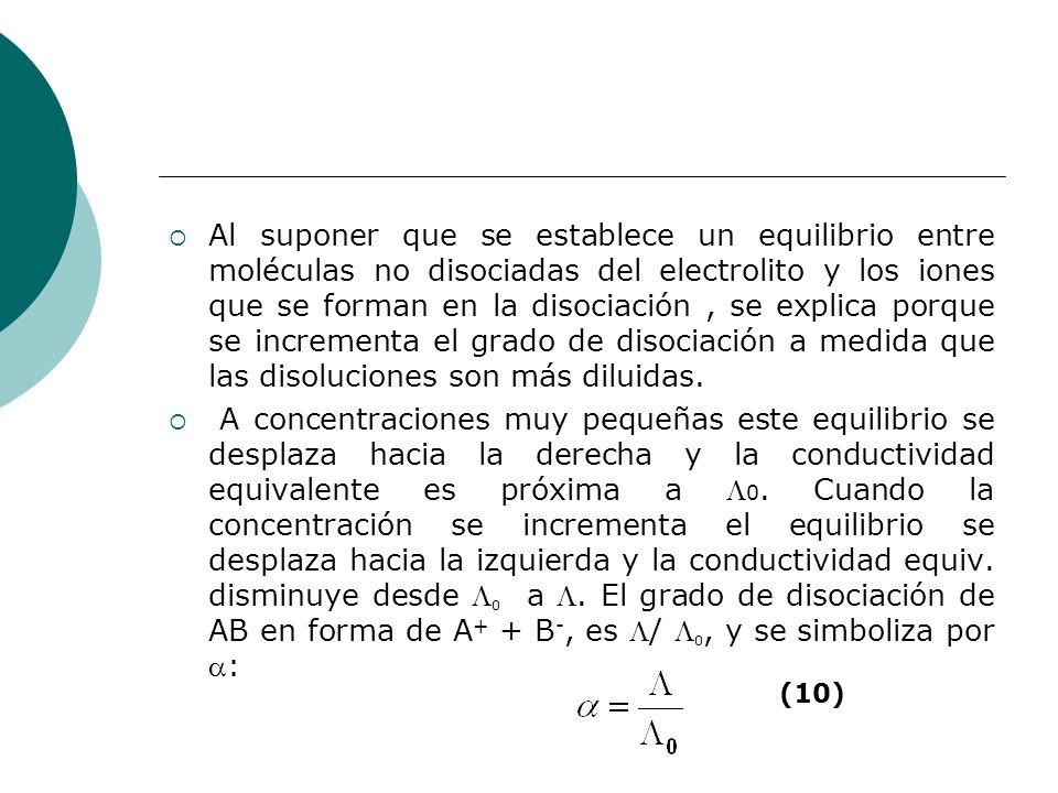 Al suponer que se establece un equilibrio entre moléculas no disociadas del electrolito y los iones que se forman en la disociación, se explica porque