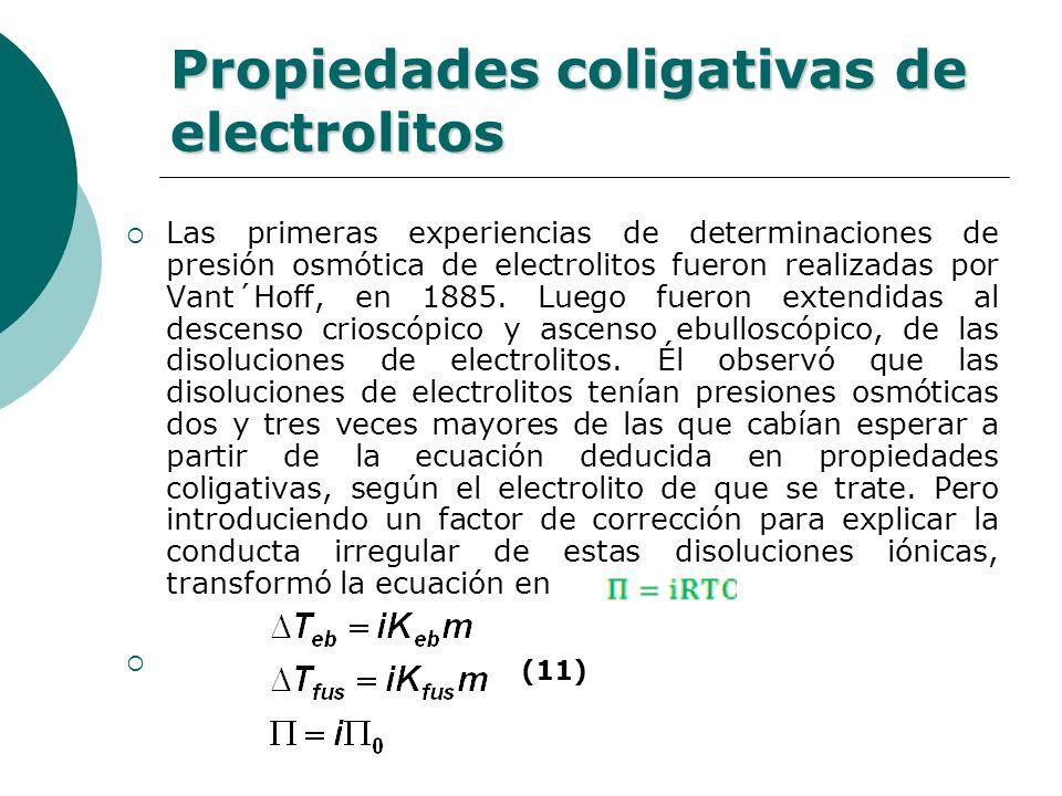 Propiedades coligativas de electrolitos Las primeras experiencias de determinaciones de presión osmótica de electrolitos fueron realizadas por Vant´Ho