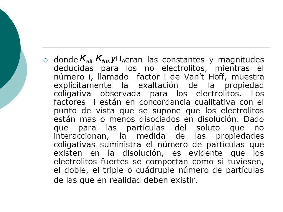 donde eran las constantes y magnitudes deducidas para los no electrolitos, mientras el número i, llamado factor i de Vant Hoff, muestra explícitamente