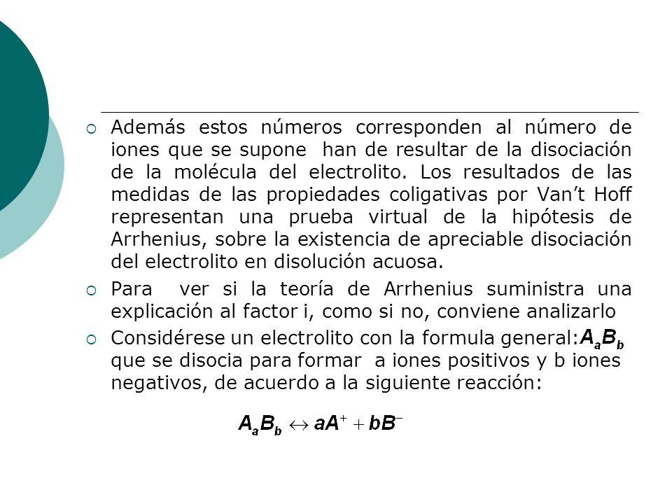 Además estos números corresponden al número de iones que se supone han de resultar de la disociación de la molécula del electrolito. Los resultados de