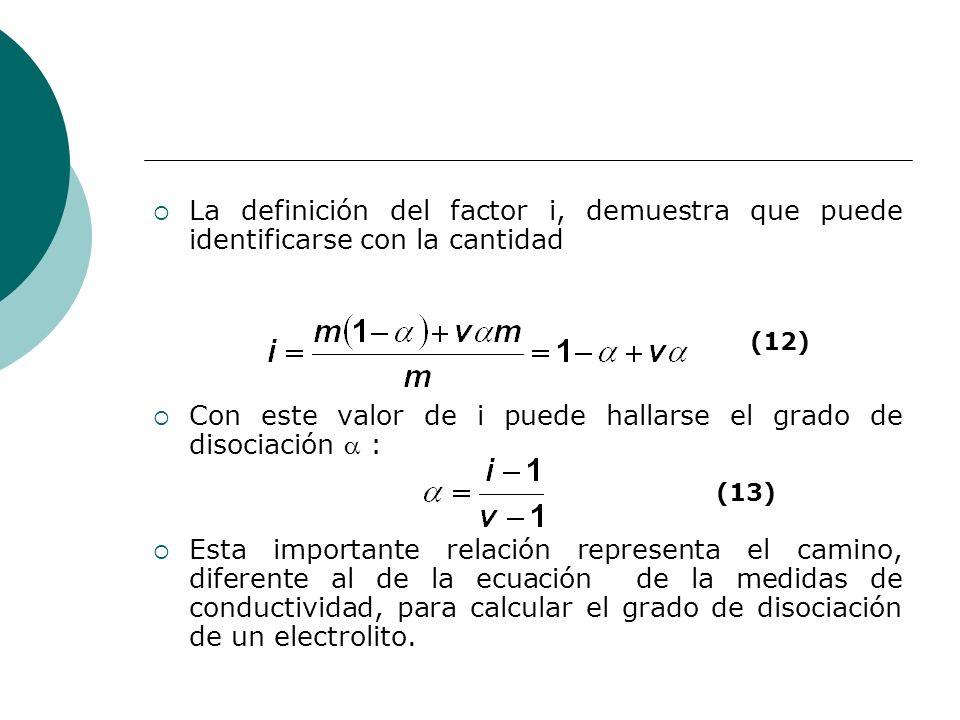 La definición del factor i, demuestra que puede identificarse con la cantidad Con este valor de i puede hallarse el grado de disociación : Esta import