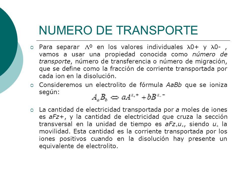 NUMERO DE TRANSPORTE Para separar º en los valores individuales 0+ y 0-, vamos a usar una propiedad conocida como número de transporte, número de tran