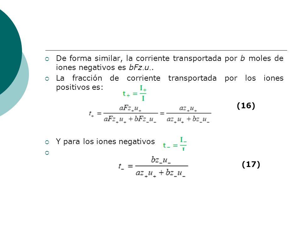 De forma similar, la corriente transportada por b moles de iones negativos es bFz - u -. La fracción de corriente transportada por los iones positivos
