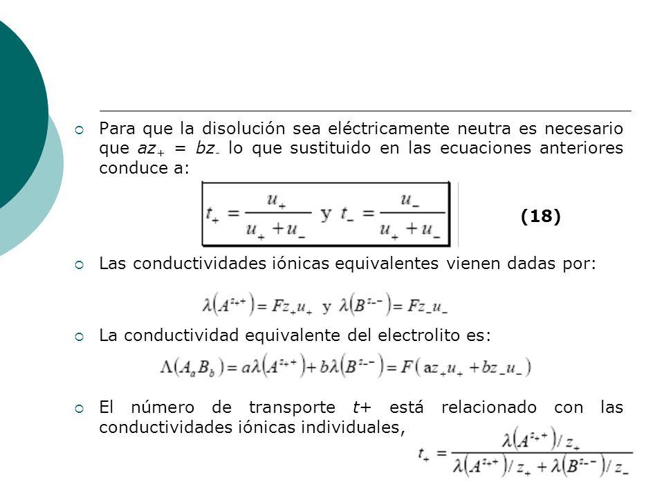 Para que la disolución sea eléctricamente neutra es necesario que az + = bz - lo que sustituido en las ecuaciones anteriores conduce a: Las conductivi
