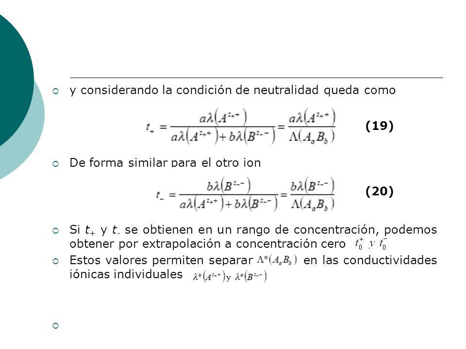 y considerando la condición de neutralidad queda como De forma similar para el otro ion Si t + y t - se obtienen en un rango de concentración, podemos