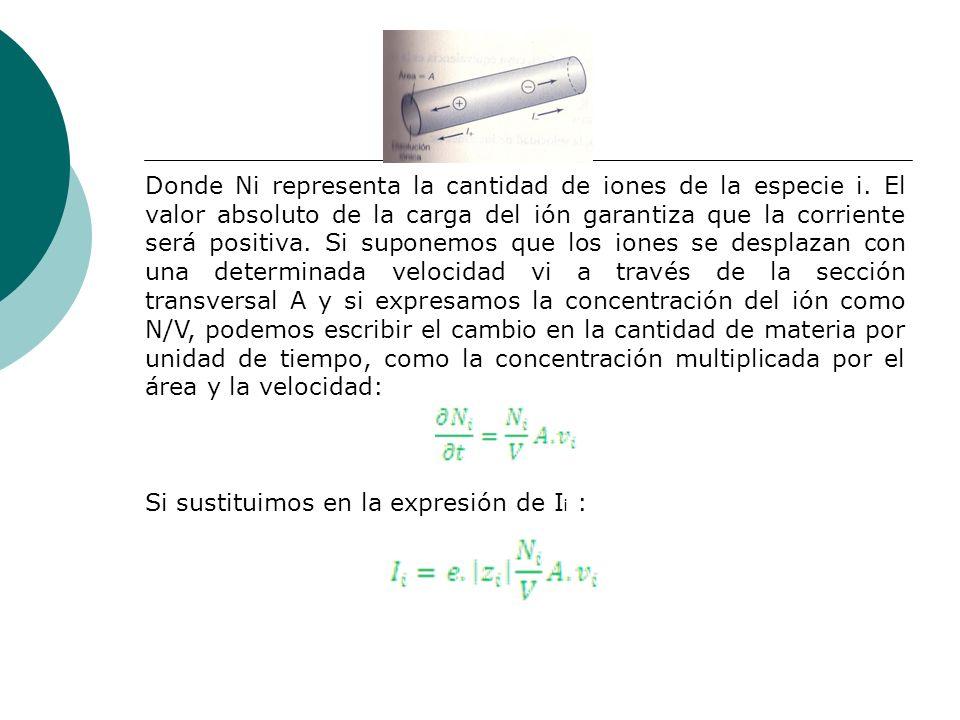 Donde Ni representa la cantidad de iones de la especie i. El valor absoluto de la carga del ión garantiza que la corriente será positiva. Si suponemos