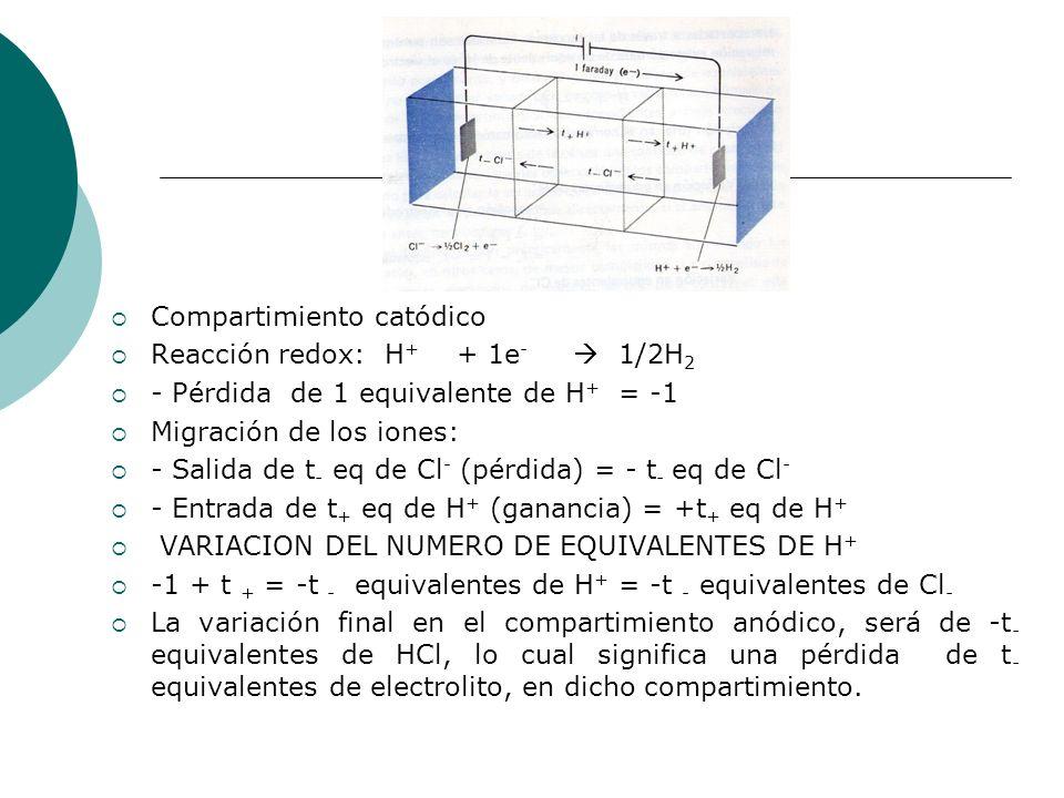 Compartimiento catódico Reacción redox: H + + 1e - 1/2H 2 - Pérdida de 1 equivalente de H + = -1 Migración de los iones: - Salida de t - eq de Cl - (p
