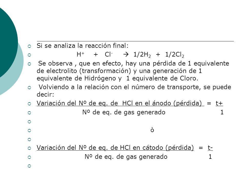 Si se analiza la reacción final: H + + Cl - 1/2H 2 + 1/2Cl 2 Se observa, que en efecto, hay una pérdida de 1 equivalente de electrolito (transformació