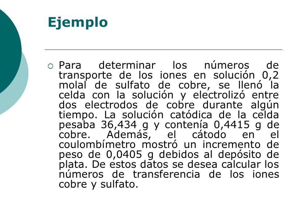 Ejemplo Para determinar los números de transporte de los iones en solución 0,2 molal de sulfato de cobre, se llenó la celda con la solución y electrol