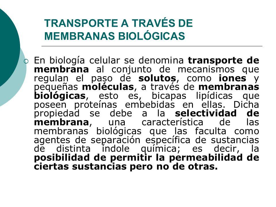 TRANSPORTE A TRAVÉS DE MEMBRANAS BIOLÓGICAS En biología celular se denomina transporte de membrana al conjunto de mecanismos que regulan el paso de so